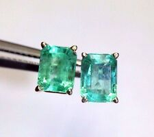 1.82CT Glowing Vivid Natural Colombian Emerald 14K Yellow Gold Earring Studs