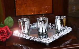 Set Of 3 Silver Mercury Tealight Candle Holders & Crystal Mirror Tray Base