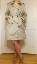 Marc Jacobs Tan Beige Long Trench Coat Jacket Sz M Double Breasted Long Sleeve