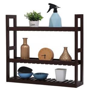 3 Layers Bamboo Bathroom Shelf Organizer Adjustable Rack Wall Mounted Storage US