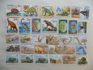 World Wide Topical Coll'n of used DINOSAUR stamps -10-11-k-We comb. shipping