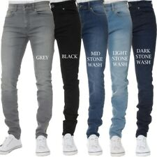 Mens KRUZE Super Stretch Skinny Jeans Slim Fit Basic Pants All Waist & Leg Sizes