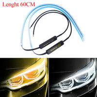 2pcs 60CM Auto Lamps LED Car Headlight Strip Light DRL Slim Flexible Turn Signa