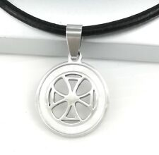 Silver Round Templar Cross Pearl Pendant Womens Mens Black Leather Necklace