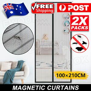 2x SET Magnetic Door Mesh Black Fly Screen Magic Magna Mosquito Bug Curtain