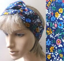 VINTAGE RETRO 80s BLUE FLORAL COTTON BENDY WIRED HAIR WRAP SCARF HEADBAND E562