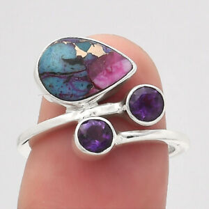 Kingman Pink Dahlia Turquoise and Amethyst 925 Silver Ring s.6.5 Jewelry 2251