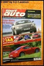 Sport Auto 10/05 Astom Martin V8 Porsche Cayman Audi RS