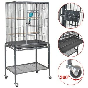 136cm Large Open Playtop Metal Rolling Parrot Bird Cage for Cockatiels Shelf