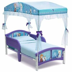 Girls Gift Disney Frozen Theme Blue Decorative Children Toddler Bed with Canopy