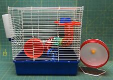 "Blue 2 Story Hamster Cage w/ 2 Wheels, Dish, Tunnel and Water Bottle 15""x9""x15"""