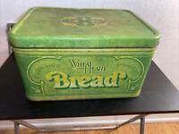 Vintage 1970s Tin Wheat Heart Metal Bread Box 14in x 10in x 7.5in