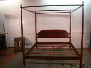 62100:Solid Cherry King Size Bench-made Poster Canopy Bed
