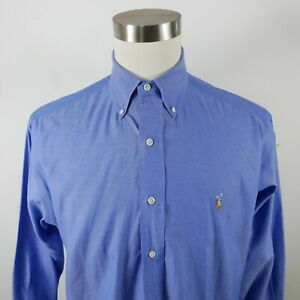 Polo Ralph Lauren Mens Pinpoint Oxford Yarmouth LS Button Up Blue Shirt 15.5