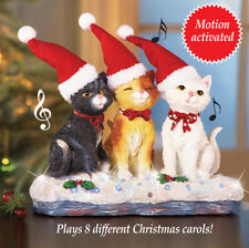 Motion Activated Fiber Optic Musical Christmas Cat Trio Tabletop Statue Decor