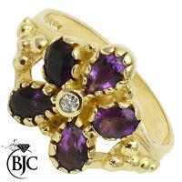 BJC® 9ct Yellow gold Amethyst & Diamond Flower size M engagement ring R243