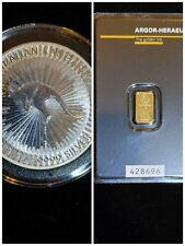 (lot 2) 1 gram Gold Bar - Argor-Heraeus / 1 Kangaroo silver coin .9999 fine