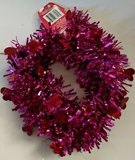 "Pink Metallic Tinsel Garland With 1"" Hearts Garland is 3"" wide X 9' long NWT"