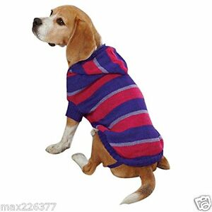 New Dog Striped Knit Hoodie Sweater Hoodies Violet  Pet Winter Warm Small S