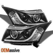 Fits 11-14 Chevy Cruze Black DRL LED Projector Headlights Light Bulbs Included
