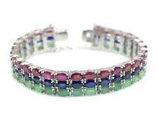Natural Ruby Emerald Sapphire Gemstone 925 Sterling Silver Tennis Bracelet