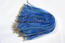 wholesale 20pcs Blue Organza Ribbon Necklace Silk Cord Clasp 450mm FREE