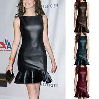 Fashion Women Sleeveless Ruffle Solid Leather Dress Casual Slim Splice Dresses