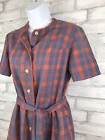 Vintage Blue Orange Cottage Core Plaid Shift Dress Belted 60's 70's Size M/L