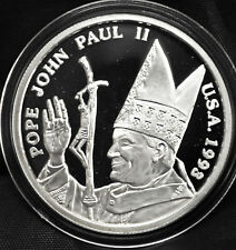 1993 Pope John Paul II Visit to USA - Fine Silver Medal