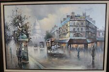 Original Oil On Canvas C H Young Early 20th Century City Street Scene Framed