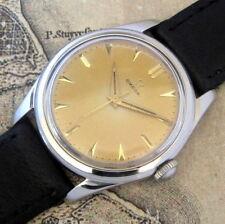 Mens Original 1951 Omega 420 Caliber Stainless Patina Dial Vintage Swiss Watch