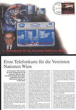 AUSTRIA NAZIONI UNITE FOLDER PRIMA SCHEDA UNO WIEN IN BUSTA FILATELICA ANNO 1992