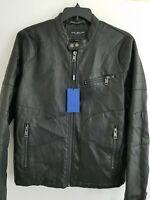 Marc New York Mens Medium Black Killian Faux-Leather Racer Jacket