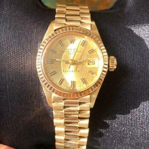 ROLEX DATE LADIES PRESIDENT TIFFANY 6917 18KT YELLOW GOLD VINTAGE GENUINE WATCH
