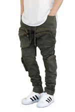 MEN'S MULTI CARGO TWILL STRETCH JOGGER PANTS 3 COLORS *FAST SHIPPING