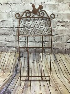 """Rustic Farmhouse Country Rooster Brown Wall Plate and Cup Rack Kitchen Decor 30"""""""
