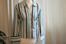 Jones New York - Striped 3/4 length sleeve Blouse - Cotton  Size XL