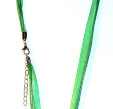 NC140e Green Silk Voile Ribbon Multi-Strand Pendant Necklace Cord w Silver Clasp