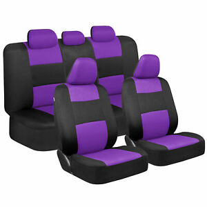 Cute Purple Car Seat Covers for Women - Full Set Combo Front & Rear Bench Seats
