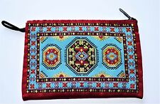Indian Ethnic Coin Purse with Zip, Fabric, Gold thread, blue/red rug kilim