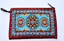 Indian étnico monedero con cremallera, tela, hilo de oro, azul/rojo Alfombra Kilim