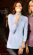 NWT $80 TALBOT'S SKY BLUE MELANGE DROP SHOULDER  MERINO TURTLENECK SWEATER PXL