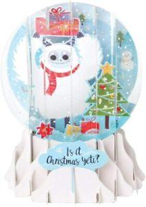 3D Pop Up Snow Globe Greetings Christmas Card - PRESENTS YETI - UP-WP-SGM-028