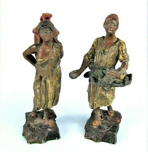 ANTIQUE AUSTRIAN COLD PAINTED BRONZED METAL MOROCCAN ARAB MAN & WOMAN FIGURINES