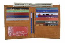 Men's Genuine Leather Bifold Wallet Slim Hipster Cowhide Credit Card ID New Tan