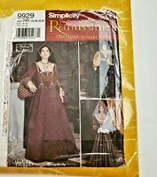 Simplicity 9929 Renaissance Costume Sewing Pattern Size 14 16 18 20 Uncut