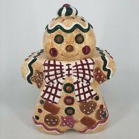 Vintage 1996 Jay Imports Gingerbread Man Christmas Holiday Ceramic Cookie Jar