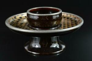 #8849: Japanese Wooden Lacquer ware Tenmoku TEABOWL STAND/tray Tea Ceremony