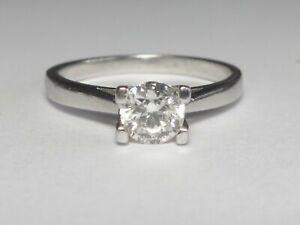PLATINUM 0.52CT ROUND BRILLIANT CUT DIAMOND SOLITAIRE RING