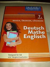 SCHÜLERHILFE 7 KLASSE DEUTSCH MATHE ENGLISCH BUCH REGELN ÜBUNGEN LÖSUNGEN